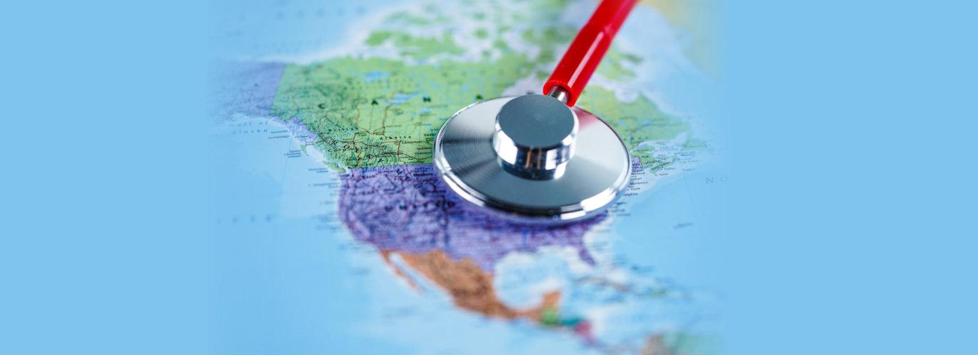 USA United states of america : Stethoscope with world map